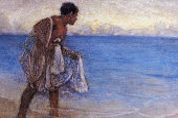 Chris Bartlett's painting of a Hawaiian fisherman. Photo: Hawaiian Legacy Archive.