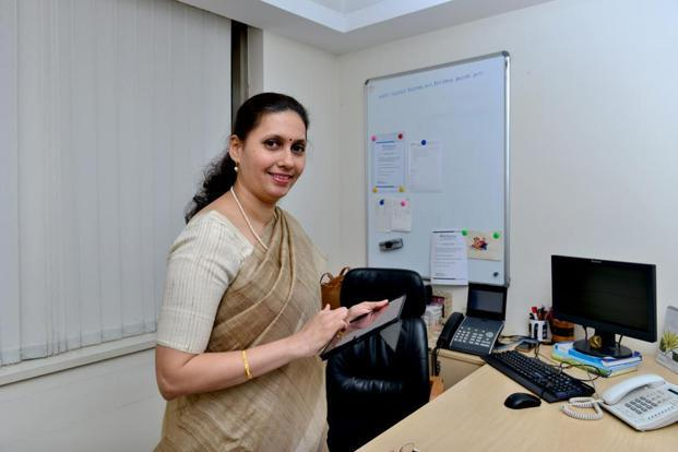 Revati Kasture, chief general manager at credit rating agency CARE Ratings, Mumbai, took a five-year break from a professionally satisfying job after childbirth. Photo: Aniruddha Chowhdury/Mint