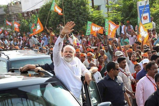 Prime Minister Narendra Modi during a roadshow in Bhubaneswar on Saturday. Photo: PTI
