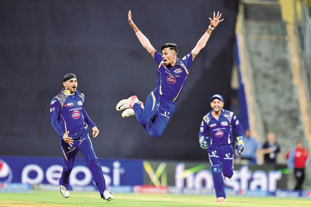Mumbai captain Rohit Sharma intelligently used his spinners Harbhajan Singh (1-22) and Krunal Pandya (0-18) on a slow wicket before Dinesh Karthik blazed a quick-fire 48 off 26 balls to give Lions a reasonable total. Photo: Hindustan Times