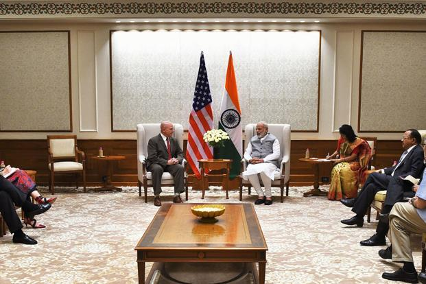 US National Security Adviser Lieutenant General HR McMaster meets Prime Minister Narendra Modi in New Delhi on Tuesday. Photo: AFP/PIB