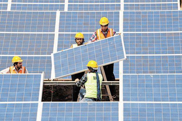 India has set up an ambitious 100 GW solar power target by 2022. Photo: AFP