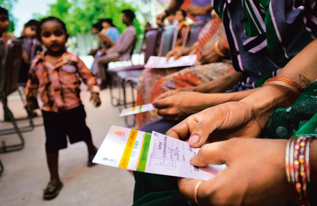 The Aadhaar project, under which a 12-digit identification number is to be allotted to every Indian resident, was originally supposed to be a way of plugging leakages in the delivery of state benefits such as subsidized grains to the poor. Photo: Priyanka Parashar/Mint