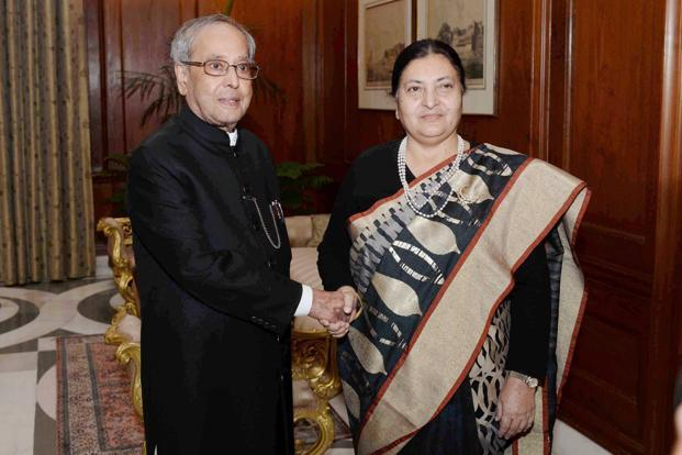 Nepalese president Bidya Devi Bhandari held talks with her Indian counterpart Pranab Mukherjee and vice-president Hamid Ansari, among others. Photo: PTI