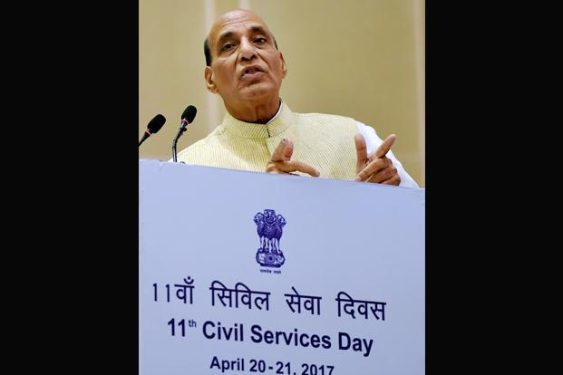 Rajnath Singh was speaking at an inaugural session at an event to mark the civil services day in New Delhi. Photo: PTI