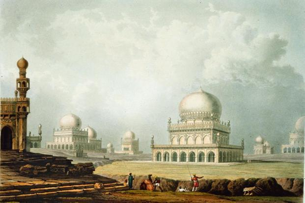 An 18th century painting, one of the earliest representations of the necropolis. Courtesy Aga Khan Trust for Culture
