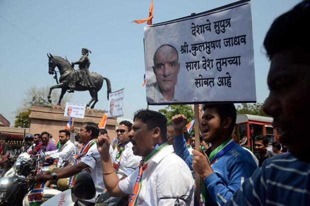 Supporters take out a bike rally to protest against the death sentence awarded to former Naval officer Kulbhushan Jadhav by a Pakistani court in Navi Mumbai