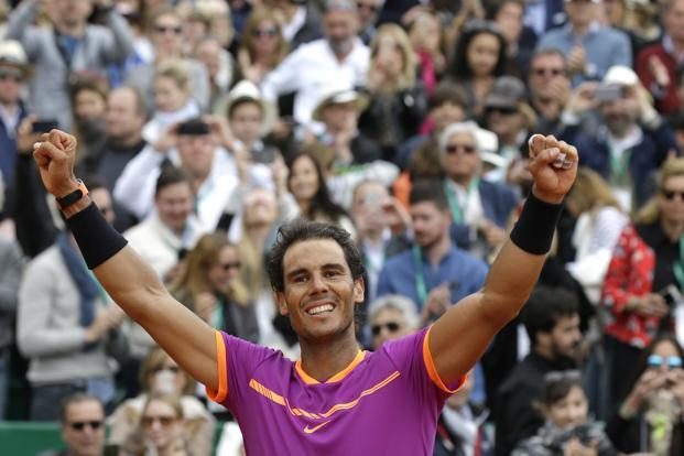 Spain's Rafael Nadal jubilates after winning his men's finals match against Spain's Albert Ramos-Vinolas at the Monte Carlo Tennis Masters tournament in Monaco. Photo: AP
