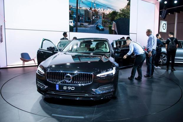 A Volvo S90 car is presented during the first day of the 17th Shanghai International Automobile Industry Exhibition in Shanghai on April 19, 2017. Photo: AFP
