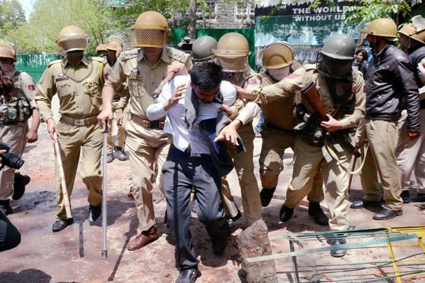 The move comes against the backdrop of repeated student protests in Kashmir, which the authorities believe are fanned through social media. Photo: PTI