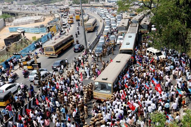 ... Tamil Nadu went on a day-long strike led by DMK on Tuesday. Photo