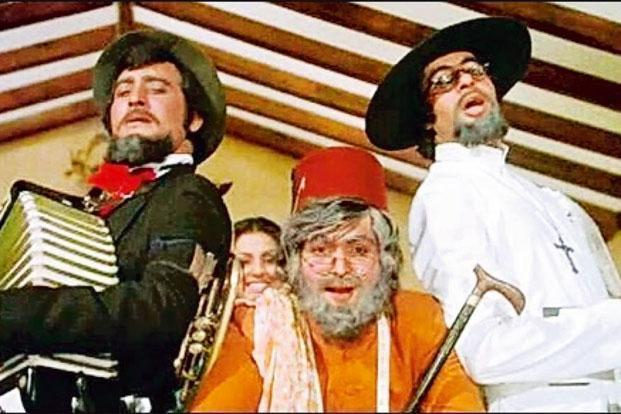 Vinod Khanna (extreme left) in a still from 'Amar, Akbar and Anthony'.