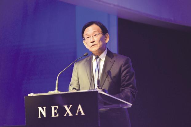 Maruti Suzuki CMD Kenichi Ayukawa since nobody is producing lithium-ion batteries in India, Suzuki has decided to make battery packs here for hybrid and electric cars. Photo: Pradeep Gaur/Mint