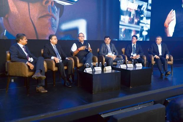 From left to right) Dilipkumar Khandelwal, managing director of SAP Labs India; Banmali Agrawala, president and CEO of General Electric South Asia; R. Sukumar, editor of Mint; Sachin Nandgaonkar, president and CEO (speciality sector) at RPG Enterprises; B. Venugopal, managing director of Life Insurance Corporation of India; and Pramit Jhaveri, CEO of Citi India, at the Mint Digitalist Forum 2017 by SAP in Mumbai. photographs by Abhijit Bhatlekar/Mint