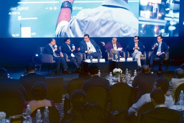 (From left) Bharat Moossaddee, executive vice-president and CFO of Mahindra and Mahindra; Kedar Upadhye, CFO of Cipla; Wieland Schreiner, executive vice-president of SAP S/4HANA at SAP SE; Leslie D'Monte, national technology editor of Mint; Anant Bhagwati, partner at Bain and Co. in Mumbai; and Christian Rummel, executive director and CFO of Siemens; at the Mint Digitalist Forum 2017 by SAP in Mumbai. Photo: Abhijit Bhatlekar/Mint