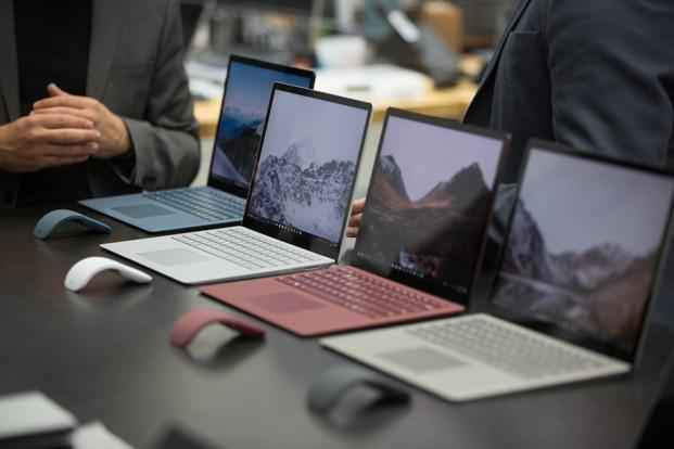Microsoft's new Surface laptops on display at the company's hardware lab in Redmond, Washington. Photo: Bloomberg