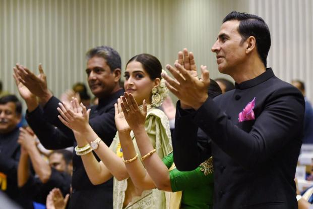 Akshay Kumar, Adil Hussain (extreme left) and Sonam Kapoor (2nd left) at the award ceremony. Kapoor received a Special Mention from the jury for playing Neerja Bhanot in the film'Neerja'. PTI