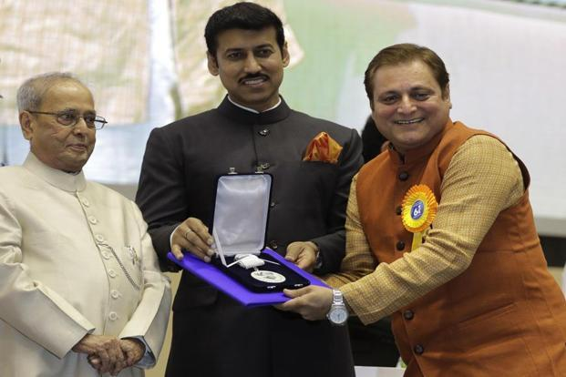 Best Supporting Actor Manoj Joshi (right) was awarded for his role in Marathi film 'Dashakriya'. AP