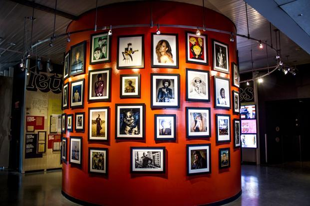 This image released by the Rock & Roll Hall of Fame shows an installation featuring photography from Rolling Stone magazine. Photo: AP