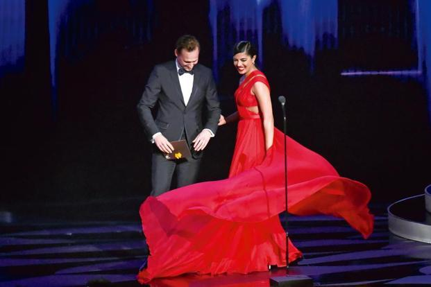 At the 2016 Emmys, Chopra walked out to present with Tom Hiddleston. Just before she reached the lectern, she twirled, allowing her flowing red dress to gracefully arc: a precisely calibrated move that only someone with true star wattage could pull off. Photo: Jeff Kravitz/FilmMagic