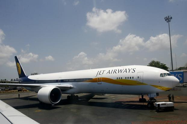 Jet Airways air traffic is showing worrying decline, has recorded  only about 18% of domestic market share. Photo: AFP