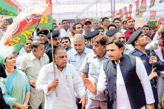 Image result for UP politics Yadav family feud: Uncle vs nephew vs father