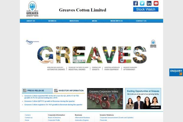 Greaves Cotton reported revenue of Rs 1,819 crore and net profit of Rs 181 crore for 12 months ended Mar 2017.