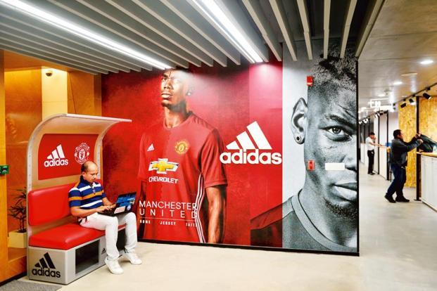 The adidas office reflects sports in many ways. It has branded installations on each floor. Photographs by Pradeep Gaur/Mint