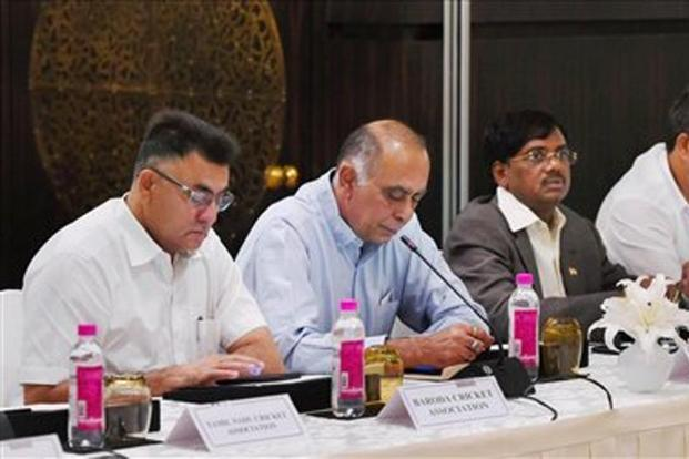 BCCI officials attending Special General Meeting  in New Delhi on Sunday. Photo: PTI