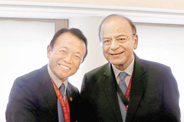 Finance minister Arun Jaitley with Japanese counterpart Taro Aso on the sidelines of the annual meeting of ADB's board of governors on Sunday. Photo: PTI