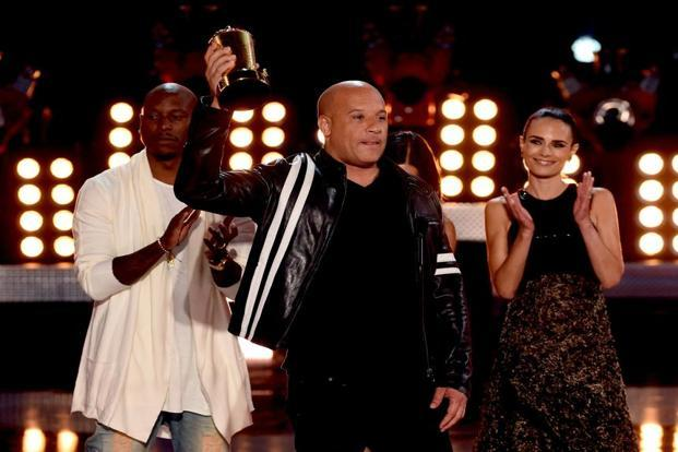 Actors Tyrese Gibson, Vin Diesel and Jordana Brewster accept the MTV Generation Award for 'The Fast and the Furious' franchise. Photo: Getty Images.