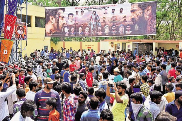 A crowd at a theatre screening Baahubali 2: The Conclusion, in Hyderabad on 28 April, the day the movie released. Photo: PTI