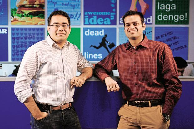 SoftBank has offered to pay  Snapdeal founders Kunal Bahl (left) and Rohit Bansal  a combined $30-60 million. Photo: Pradeep Gaur/Mint