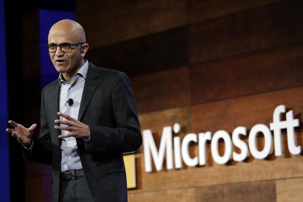 File photo. Microsoft CEO Satya Nadella's presentation included images from George Orwell's '1984' and Aldous Huxley's 'Brave New World' to underscore the issue of responsibility of those creating new technologies. Photo: AP