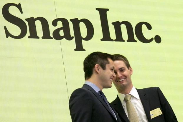 Snapchat co-founders Bobby Murphy (left) and CEO Evan Spiegel. Photo: AFP