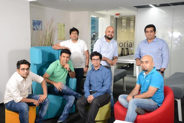 Practo's early team ( from left) Siddharth Aggarwal; Shashank N.D., founder and CEO; Praveen P. Sakrii; Abhinav Lal, founder and CTO; Manoj Kumar; Aditya Bhat and Siddhartha Nihalani. Photo: Hemant Mishra/Mint
