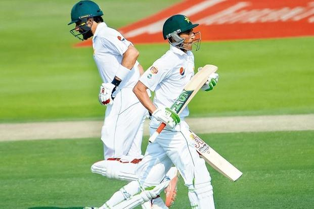 Misbah-ul-Haq (left) and Younis Khan in their final Test in Roseau, Dominica, last week. Photo: Getty Images.