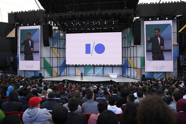 Google CEO Sundar Pichai delivers the keynote address at the Google I/O 2017 Conference at Shoreline Amphitheatre in Mountain View, California, on Wednesday. Photo: AFP