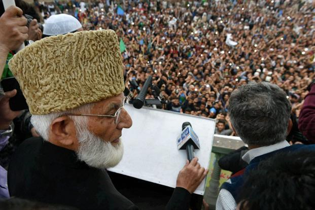 The NIA's preliminary enquiry alleged that the separatists including Syed Ali Shah Geelani (above) were receiving funds from the LeT chief to carry out subversive activities in the Kashmir Valley. Photo: PTI