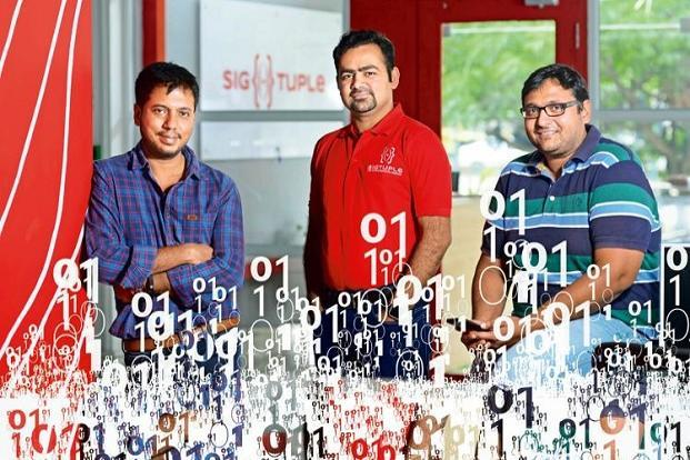 SigTuple's founding team (from left) Tathagato Rai Dastidar, Rohit Kumar Pandey and Apurv Anand. Photo: Hemant Mishra/Mint