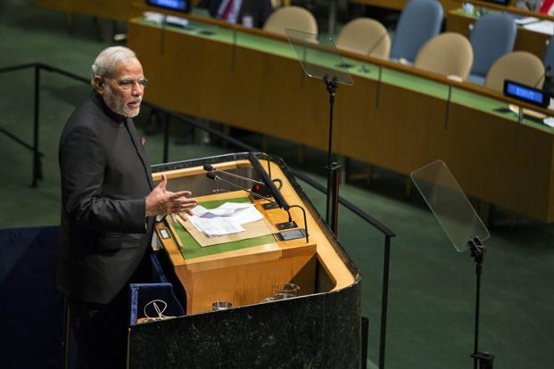 In his maiden speech at the United Nations in 2014, Narendra Modi used the locution to reassert India's fading case for reform of the Security Council. Photo: PTI