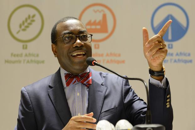 African Development Bank president Akinwumi Adesina at a press conference in Ahmedabad ahead of the five-day annual meeting of the bank. Photo: AFP