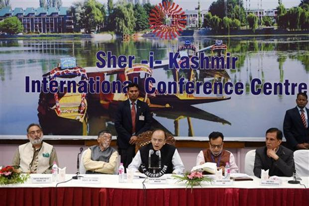 The 14th GST Council meeting, attended by Union FM Arun Jaitley and state finance ministers, was held in Srinagar on Friday. Photo: AP