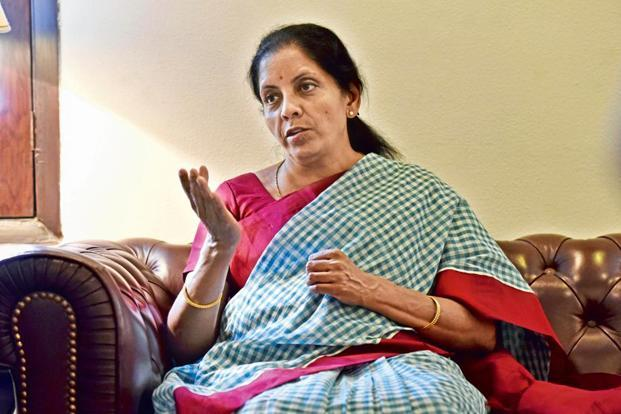 File photo: Union minister Nirmala Sitharaman said the ministry has asked the GST Council to consider to formulate an alternative mechanism for small and medium exporters on the issue of payment of taxes. Photo: Hindustan Times