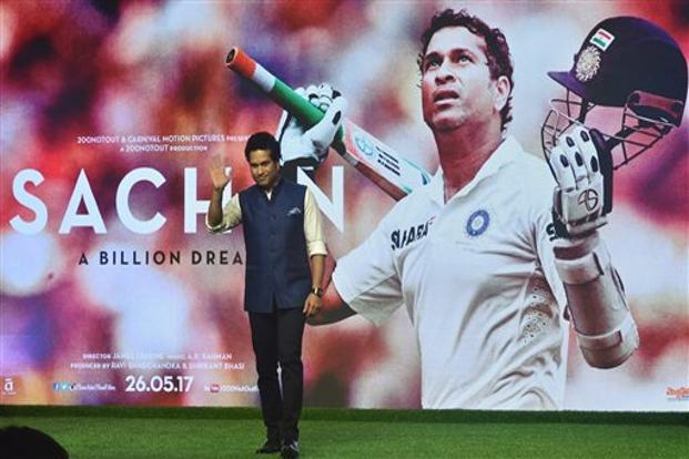 Sachin: A Billion Dreams, a biographical film on cricketer Sachin Tendulkar, releases in theatres this week . Photo: PTI