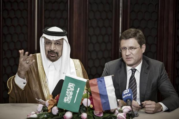 Saudi Arabia's energy minister Khalid Bin Abdulaziz Al-Falih and his Russia counterpart Alexander Novak. Photo: Bloomberg