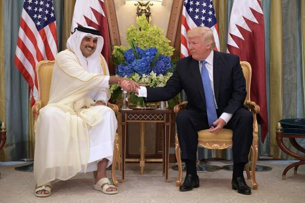 Qatar's emir Sheikh Tamim Bin Hamad Al-Thani (L) and US President Donald Trump in a bilateral meeting during the latter's recent visit to Saudi Arabia. Photo: Mandel Ngan/AFP