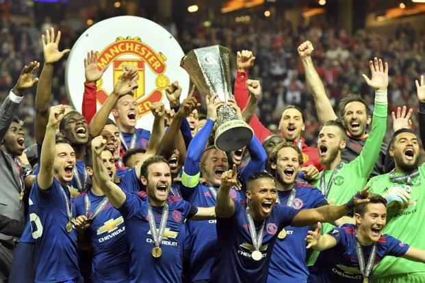 Man Utd Players Celebrate In Changing Room After Winning Europa League
