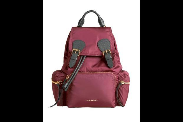 The burgundy-red Nylon Technical Rucksack by Burberry.