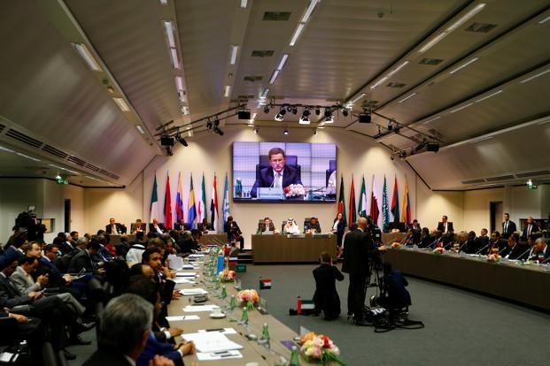 Russia's energy minister Alexander Novak, Saudi Arabia's energy minister and Opec conference president Khalid al-Falih, and Opec secretary general Mohammad Barkindo attend a meeting of Opec and non-Opec producing countries in Vienna, Austria, on Thursday. Photo: Reuters